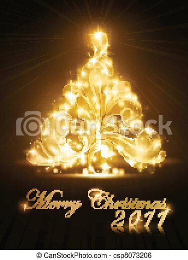 dourado, árvore, faíscas, 2011, cartão natal, brilho - csp8073206