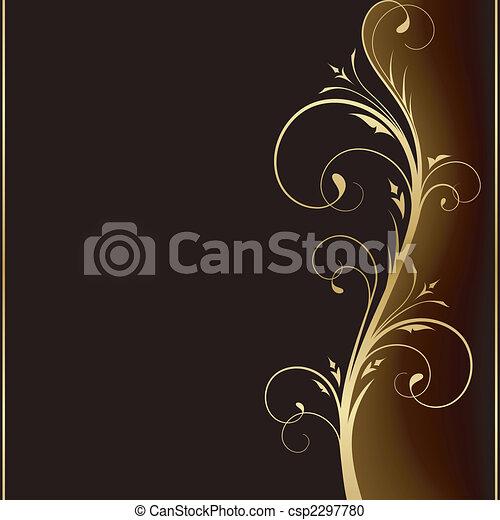 dourado, elementos, escuro, elegante, desenho, fundo, floral - csp2297780