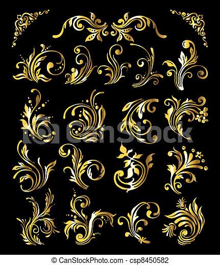 dourado, jogo, vindima, ornamento, decoração, elementos, floral - csp8450582