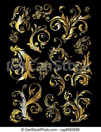 dourado, jogo, vindima, ornamento, decoração, elementos, floral - csp8450586