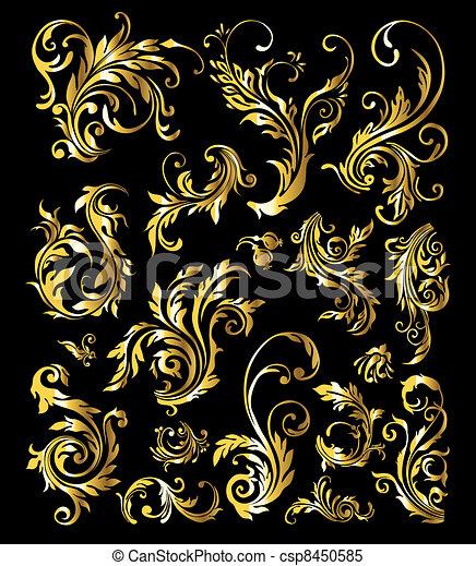 dourado, jogo, vindima, ornamento, decoração, elementos, floral - csp8450585