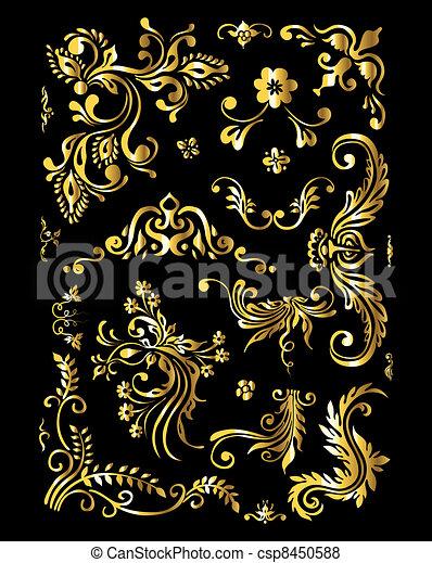 dourado, jogo, vindima, ornamento, decoração, elementos, floral - csp8450588