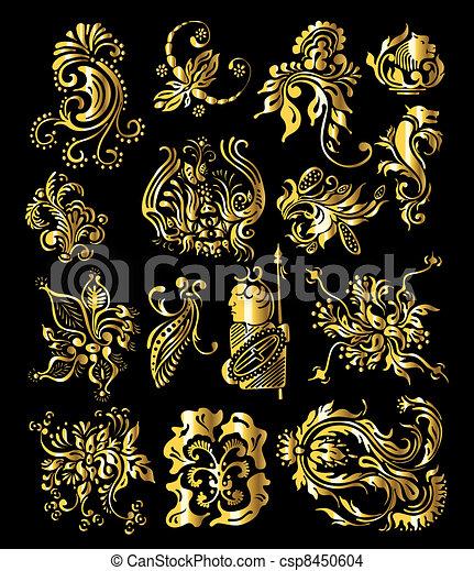 dourado, jogo, vindima, ornamento, decoração, elementos, floral - csp8450604