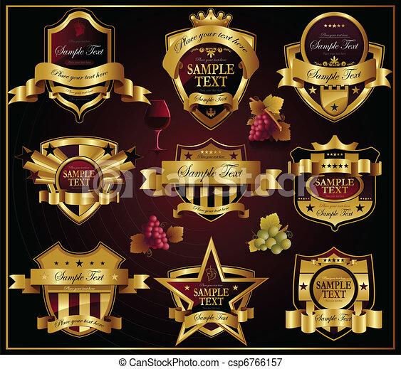 dourado, labels:, vetorial, vinho, alco - csp6766157