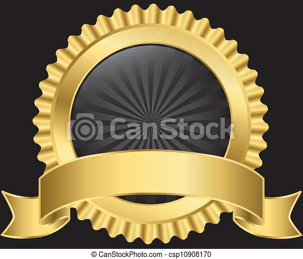 dourado, vetorial, etiqueta, fita - csp10908170