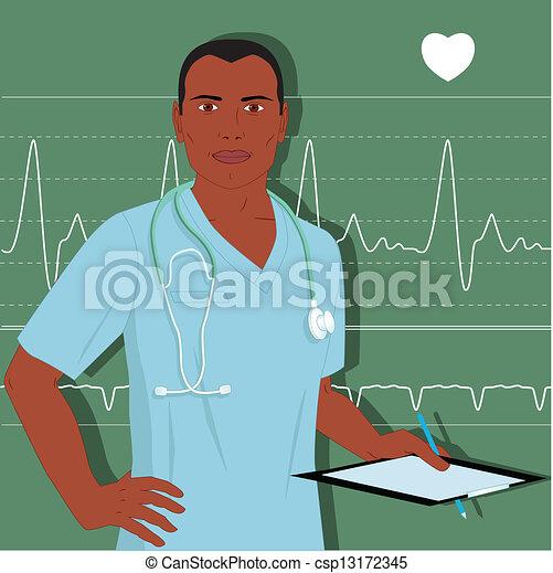 doutor, macho, enfermeira, ou - csp13172345