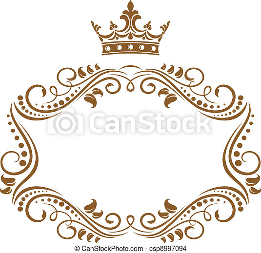 elegante, quadro, coroa real - csp8997094