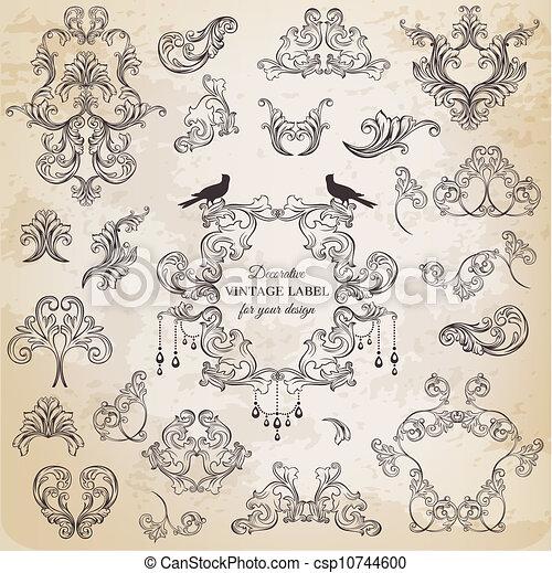 elementos, decoração, quadro, cobrança, calligraphic, vetorial, desenho, vindima, flores, página, set: - csp10744600