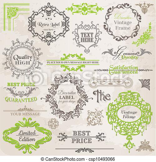 elementos, decoração, quadro, cobrança, calligraphic, vetorial, desenho, vindima, flores, página, set: - csp10493066