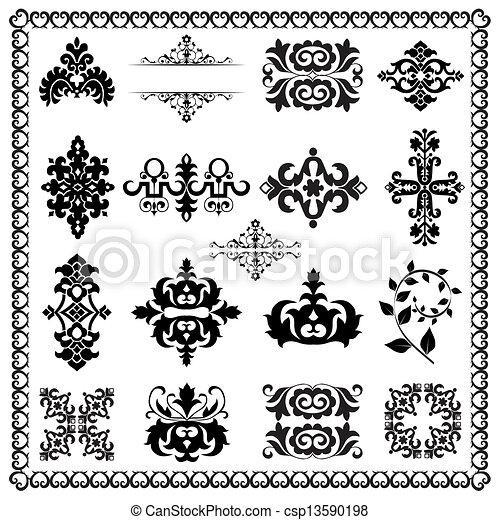 elementos decorativos, desenho, (black) - csp13590198