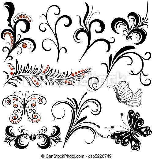elementos decorativos, desenho - csp5226749
