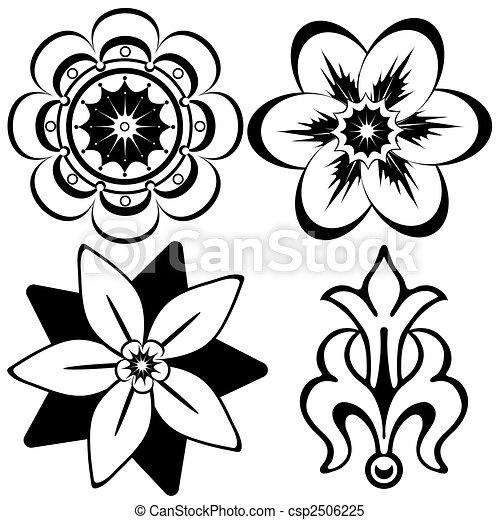 elementos decorativos, (vector), vindima, desenho, floral - csp2506225