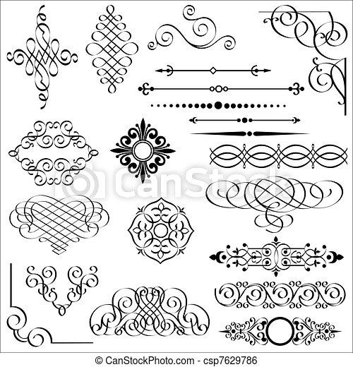 elementos, desenho, calligraphic - csp7629786