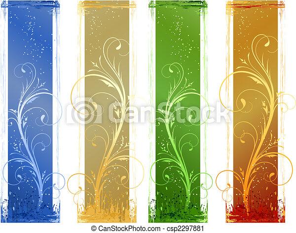 elementos, grunge, projeto abstrato, 4, floral, bandeiras - csp2297881