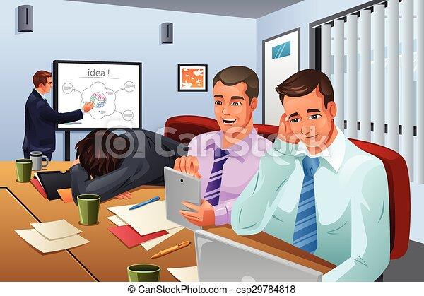 enfadonho, reunião, negócio - csp29784818