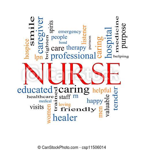 enfermeira, conceito, palavra, nuvem - csp11506014