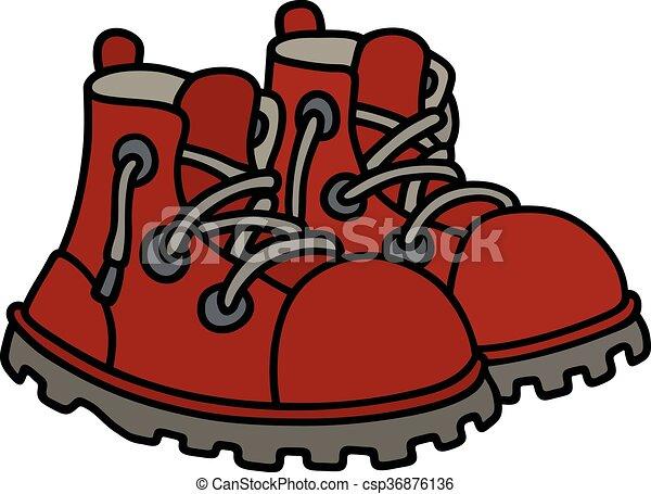 engraçado, botas vermelhas - csp36876136