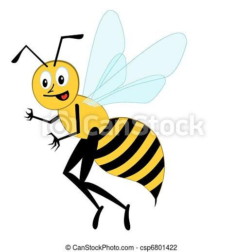 engraçado, caricatura, abelha - csp6801422
