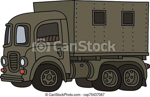engraçado, militar, caminhão velho - csp75437067