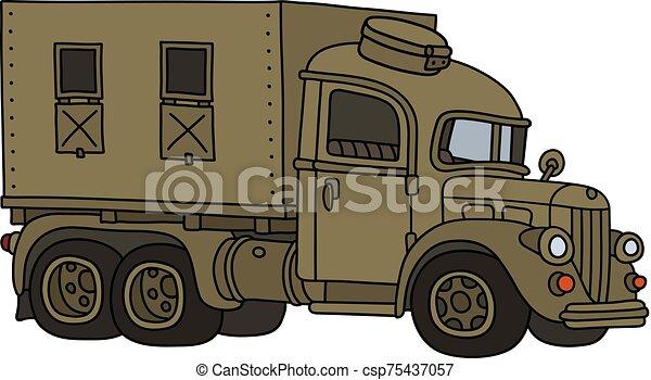 engraçado, militar, caminhão velho - csp75437057