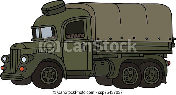 engraçado, militar, caminhão velho - csp75437037
