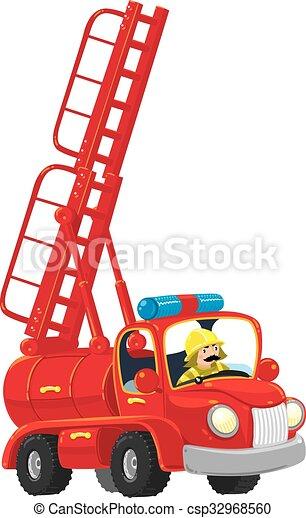 engraçado, old-styled, caminhão, vermelho - csp32968560