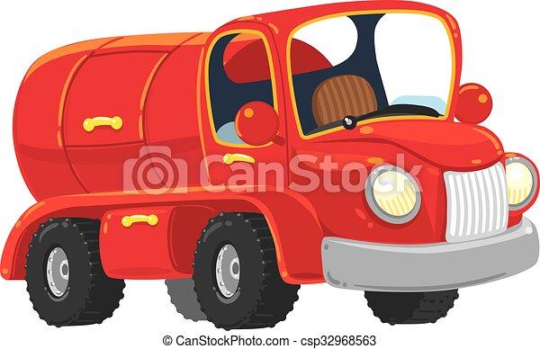 engraçado, old-styled, caminhão, petroleiro, vermelho - csp32968563
