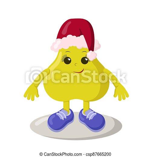 engraçado, sorrindo, cute, kawaii, chapéu, sneakers, natal, pêra - csp87665200