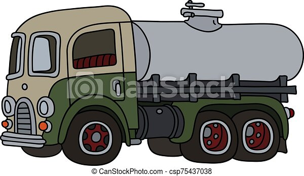 engraçado, tanque, caminhão velho - csp75437038