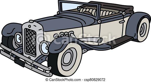 engraçado, vindima, azul, cabriolé, branca - csp80829072