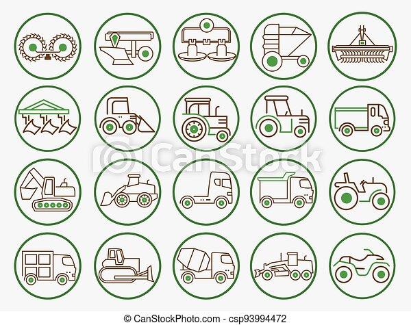 equipamento, ícone, maquinaria, agricultura - csp93994472