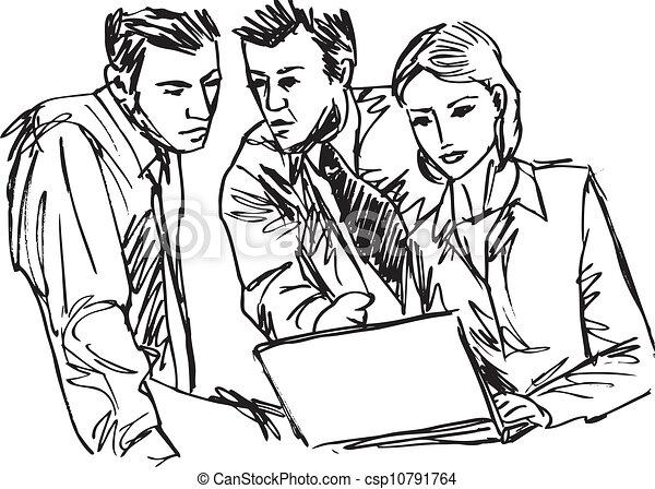 esboço, negócio, trabalhe pessoas, sucedido, escritório., laptop, ilustração, vetorial - csp10791764