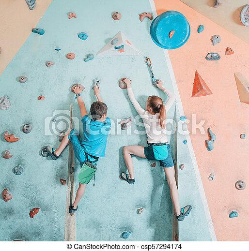 escalando, crianças, dois, gym. - csp57294174