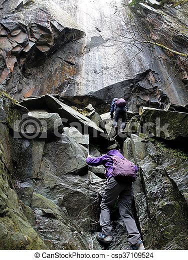 escalando, crianças, pedras - csp37109524