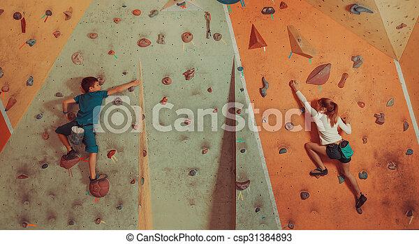 escalando, indoor, crianças - csp31384893