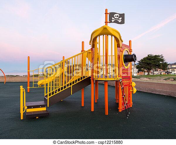 escalando, navio, pirata, quadro, crianças - csp12215880