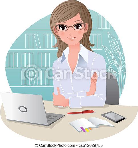 escritório, bonito, negócio mulher - csp12629755