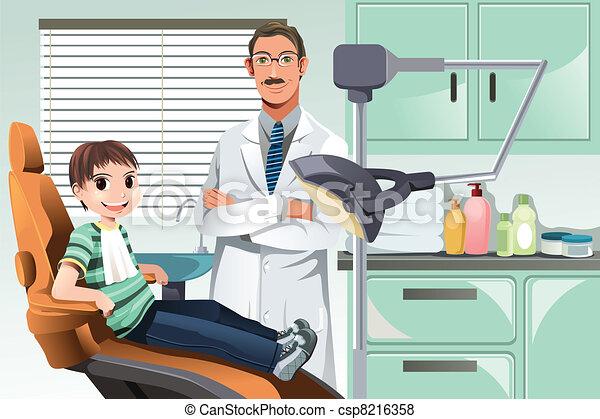 escritório dentista, criança - csp8216358