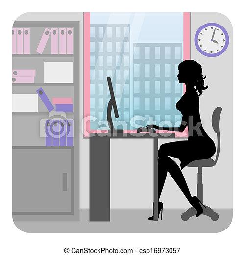 escritório, mulher, trabalhando, negócio - csp16973057