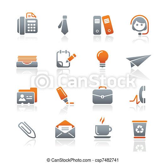 escritório, negócio, &, ícones, /, grafita - csp7482741