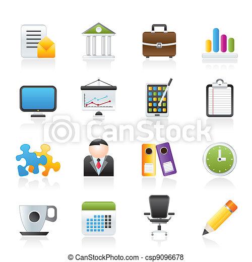 escritório negócio, ícones - csp9096678