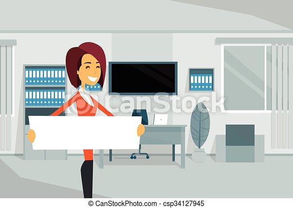 escritório, negócio, vazio, tábua, mulher negócios fica, branca, mulher - csp34127945