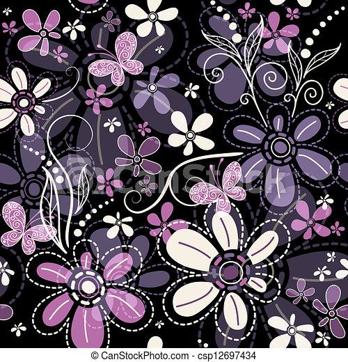 escuro, padrão, repetindo, floral - csp12697434