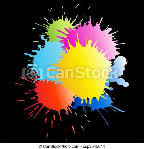 esguichos, pintura, chuva, coloridos - csp3545844