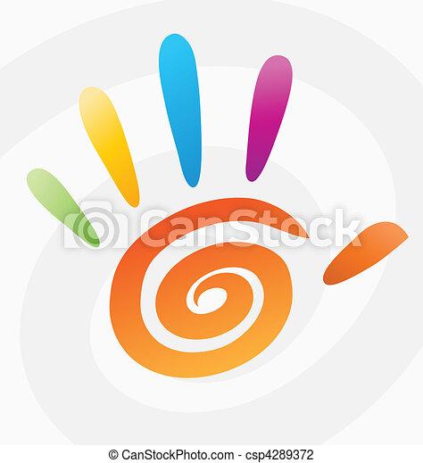 espiral, abstratos, vetorial, colorido, mão - csp4289372