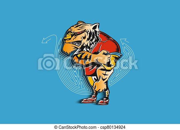 esportes, forte, vetorial, leão, poderoso, animal, illustration., mascote - csp80134924