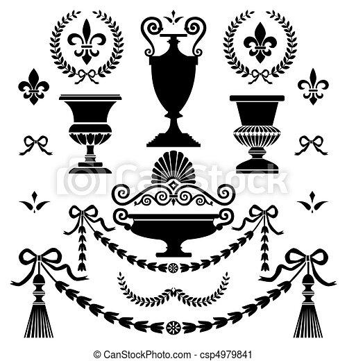 estilo, elementos, desenho, clássicas - csp4979841