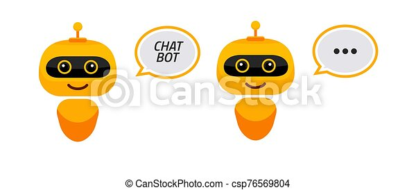 estilo, icon., chatbot, robô, apoio, bot, personagem, sinal, serviço, apartamento, concept., conversa - csp76569804