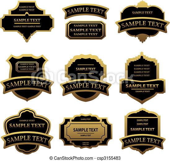 etiquetas, dourado, jogo, bordas - csp3155483