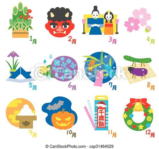 eventos, 3, sazonal, calendário, japão - csp31464029